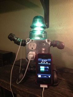 Unique Repurposed Phone Charger and Lamp - http://steamp.co/d/1619