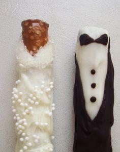 Bride Groom Chocolate Dipped Pretzel Wedding Favors. This is a cute idea.