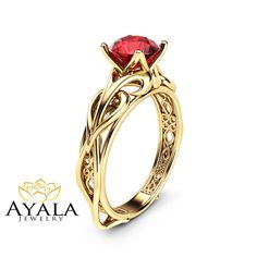 Solitaire Natural Ruby Engagement Ring 14K Yellow by AyalaDiamonds