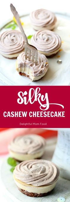 Vegan Cashew Cheesecake With Strawberry Rose Topping   Delightful Mom Food