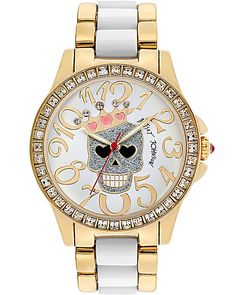 CROWNED SKULL TWO TONE WATCH GOLD accessories jewelry watches fashion