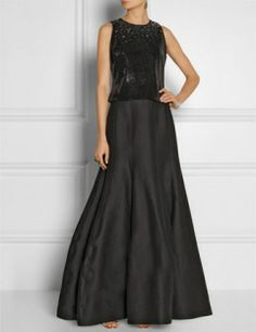 HALSTON HERITAGE Embellished Cotton and Silk Blend Faille Two Piece Gown