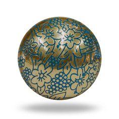 Delicate Vine Etched Metal Knob, Gold Door Knob with Blue Floral Detail, Ornate Round Flower Furniture Handle, Decorative Dresser Draw Pull Decorative Knobs, Decorative Items, Draw Knobs, Dresser Drawer Handles, Cabinet Knobs, Draw Handles, Gold Door, Furniture Knobs, Metal Furniture