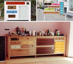 recycled dresser drawers. similar idea to my desk plan.