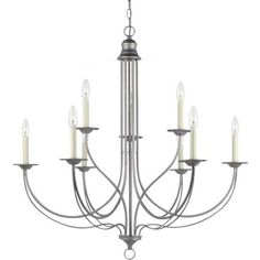 Sea Gull 3129557 Plymouth 9Light Weathered Multi Tier Chandelier Pewter ** Click image to review more details.