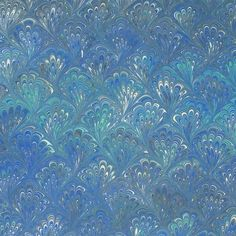 Blue Feathers Hand Marbeled Backing Paper ~ Rossi Italy