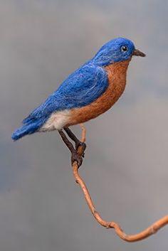 Bluebird wool felted handmade bird by WildThingsMaine on Etsy Paper Birds, Felt Birds, Fabric Birds, Needle Felted Animals, Felt Animals, Needle Felting, Wool Felting, Chicken Bird, Backyard Birds