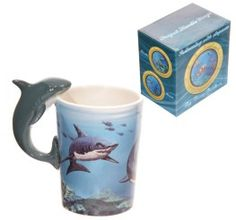 Novelty Sealife Design Shark Shaped Handle Ceramic Mug