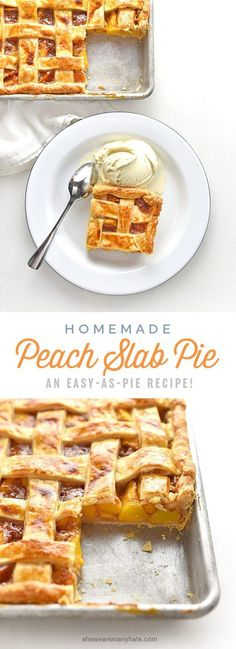 This delicious homemade Peach Slab Pie Recipe, made with fresh peaches, is perfect for serving a group and is easy make too!