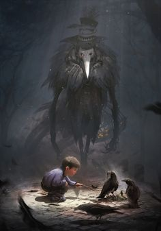 Thevan and the raven monster by ptitvinc.deviantart.com on @DeviantArt