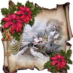 Christmas Parchments 31 by David Cooke A kit producing an 8x8 card or topper.The kit includes the card front and back and all decoupage pieces to make the card individual to you.The main image is on a simulated sheet of old parchment paper. Floral tubes are positioned to frame the image. Each card has a variety of hanging swags bows jewels and other adornments to complete the card.The whole card h
