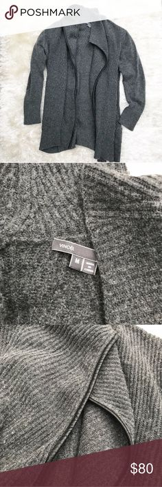 Vince cashmere/wool open cardigan Vince drape cardigan in charcoal gray. Cashmere and wool blend with leather trim. Warm, fuzzy, and stylish. Has 2 pockets that haven't been opened yet. Excellent condition. Sold out at Neiman Marcus & Bloomingdales. Vince Sweaters Cardigans