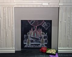 Chalkboard fireplace