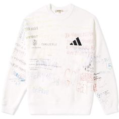 Yeezy Season 5 Handwriting Adidas Crew Sweat (Arctic)   END. (2520 MAD) ❤ liked on Polyvore featuring activewear