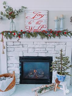Coastal Farmhouse Christmas Holiday home Painted fireplace Paint Fireplace, Coastal Farmhouse, Joy To The World, Winter Months, House Painting, Mantle, Christmas Holidays, Merry, Home Decor