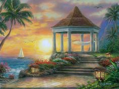 Sunset Overlook Art Painting for sale. Shop your favorite Chuck Pinson Sunset Overlook Art Painting without breaking your banks. Beautiful Landscape Paintings, Landscape Artwork, Fantasy Landscape, Beach Artwork, Beach Wall Art, Beach Paintings, Tropical Paintings, Carolina Do Norte, North Carolina