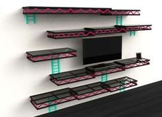 Give your entertainment room a touch of nostalgia with the Donkey Kong shelves. Designed for the old school gamer, the shelves provide ample space for all your movies and games while making your wall look like a level from the classic Donkey Kong game. Donkey Kong, Sala Nerd, My New Room, My Room, Deco Gamer, Home Music, Geek Room, Geek Decor, Man Cave