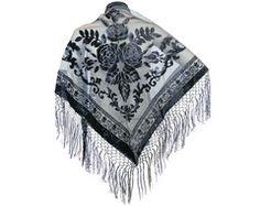 Triangle Fashion Burn Out Velvet Shawl Medallion Fringes Crochet Design