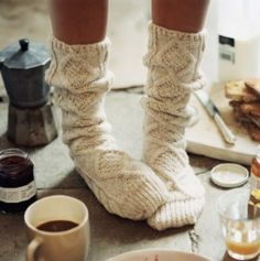 Coffee, jam, toast, and sweater socks. Though generally I think feet should stay farther away from food.