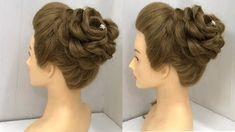 wedding hairstyles videos Beautiful Rose Bun with Trick Bridal Hair Buns, Bridal Hairdo, Medium Hair Styles, Hair Medium, Long Hair Styles, Down Hairstyles, Braided Hairstyles, Hairstyles Videos, Rose Bun