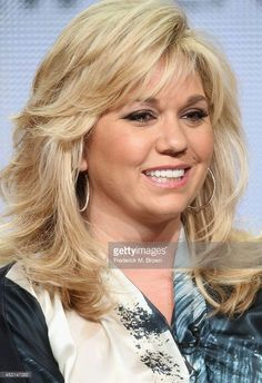TV personality Julie Chrisley speaks onstage at the 'Chrisley Knows Best' panel during the NBCUniversal USA Network portion of the 2014 Summer Television Critics Association at The Beverly Hilton Hotel on July 2014 in Beverly Hills, California. Feathered Hair Cut, Feathered Hairstyles, Cool Hairstyles, Medium Hair Styles, Curly Hair Styles, Natural Hair Styles, Hair And Makeup Tips, Hair Makeup, Brunette Hair