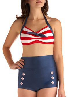 Merry Mariner Swimsuit Top. Are the deep blue waters of the open ocean calling your name? #red #modcloth