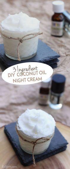 3 ingredient DIY coconut oil night cream via @ExSloth | Exsloth.com