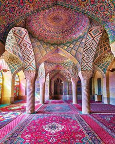 Amr badawy couchtraveller pink mosque shiraz iran islamic architecture alhambra hassan mosque allah muhammed pink flower home wall art nordic wall art housewarming gift Sanaa Architecture, Le Corbusier Architecture, Architecture Design, Persian Architecture, Plans Architecture, Baroque Architecture, Futuristic Architecture, Beautiful Architecture, Landscape Architecture