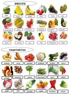 fruits and vegetables worksheet - Free ESL printable worksheets made by teachers English Tips, English Food, English Lessons, Learn English, English Quiz, Food Vocabulary, English Vocabulary, English Grammar, English Pronouns