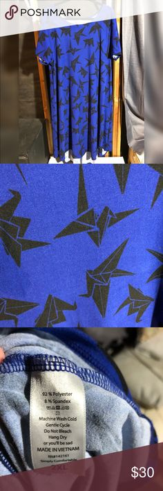 LuLaRoe Carly Legging Material The prettiest true blue with black paper cranes. Legging material, so soft!! Worn but washed to LuLaRoe standards. LuLaRoe Dresses High Low