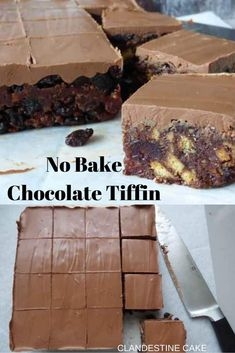 Chocolate Tiffin is a no bake confection consisting of crushed biscuits, sugar, syrup, dried fruits, and cocoa powder. It's often covered with a layer of melted chocolate. Tray Bake Recipes, Easy Baking Recipes, Easy Cake Recipes, Fudge Recipes, Sweet Recipes, Köstliche Desserts, Delicious Desserts, Dessert Recipes, Yummy Food