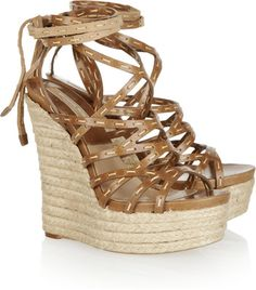 Michael Kors Leather espadrille wedge sandals - Polyvore