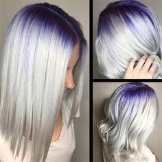 Purple to Platinum Color Melt Pretty Hair Color, Hair Color Purple, Hair Dye Colors, Blonde Hair With Roots, Violet Hair, Platinum Blonde Hair, Grunge Hair, Hair Highlights, Balayage Hair