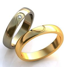 Heart Wedding Bands Classic Heart Rings Wedding by WorldOfGold