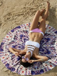 Bohemian Colored Tribal Print Circle Beach Sarong For Women