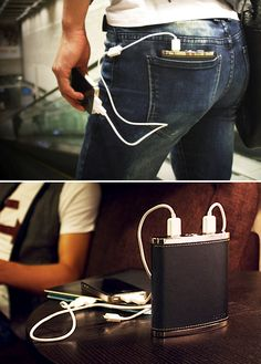 "PowerFlask A rechargeable Lithium-Ion powered ""flask"" that delivers enough power to recharge 3 devices at once; with two Apple connectors, two USB ports, and two LED flashlights, it sounds amazing but where does the booze go? Geek Gadgets, Gadgets And Gizmos, Cool Gadgets, Phone Gadgets, Watch Tattoos, Fake Tattoos, Wearable Technology, Technology Gadgets, Smartphone"
