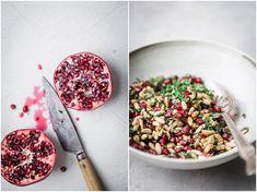 Zaatar Cauliflower Steaks with Tahini Puree + Pine Nut & Pomegranate Salsa - The Green Life Food For Eyes, Cauliflower Steaks, Green Life, Tahini, Pomegranate, Pine, Sauces, Pine Tree, Granada