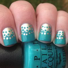 Gold and Turquoise Half-Moon Nails (aka: My Nearly Nailed Knockoff Nails!) | Polish Me, Please!