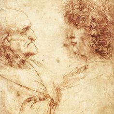 43. Heads of an Old Man and a Youth, 1495, chalk on paper, 20.8 x 15 cm