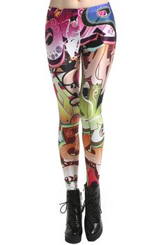 """""""Graffiti Letters"""" Leggings. Description These Leggings have been crafted from elastic fabric design, featuring brief styling with graffiti print design, a stretchy waist and all in a soft-touch stretch finish. Fabric Dacron and Spandex. Washing 40 degree machine wash , low iron. #Romwe"""
