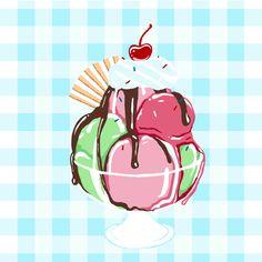Ice cream sundae illustration, hand painted and then edited using Photoshop.  #art #illustration #drawing #painting #design  #food #icecream #sundae #dessert #cherry #checks #blue #hannahwest