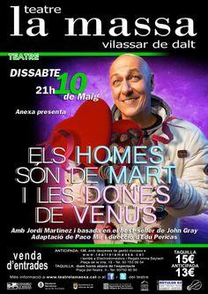 Els homes són de mart i les dones de VENUS dissabte 10 de maig 21:00 TEATRE LA MASSA VILASSAR DE DALT