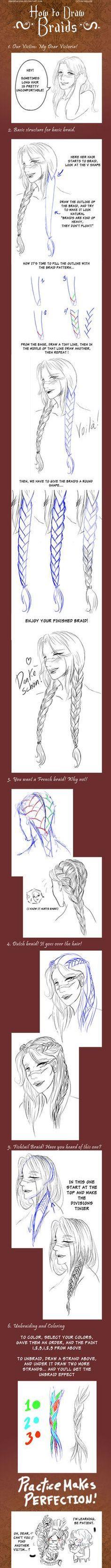 + How to draw Braids + by ~VonHollde on deviantART