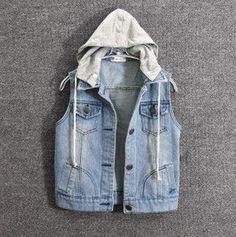 jean vest with hoodie