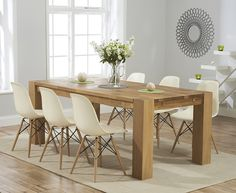 Buy The Madrid 200cm Solid Oak Dining Table With Wood Leg Plastic Chairs At Furniture