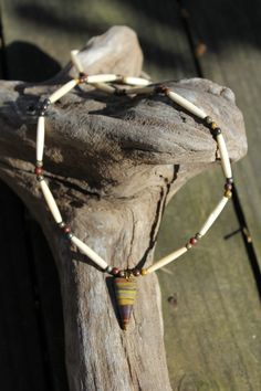 Tigers Eye Pendent and Bone Necklace by OutdoorsmanCreations on Etsy