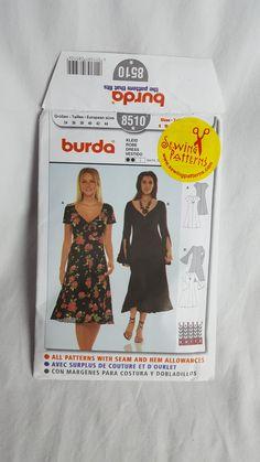 Size 8-18 Misses' Easy Dress Sewing Pattern - V Neck Short Flutter Sleeves Or Long Bell Sleeves Dress Pattern - Uncut Pattern Burda 8510 by BUnitVintage on Etsy