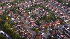 Suburban housing in west London as seen from the London Air Ambulance