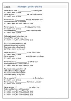 Song Worksheet: If It Hadn't Been for Love by Adele (3rd Conditional)