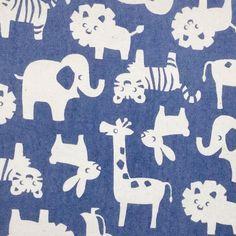 Rabbitt, Girrafe, tiger, lion, elephant in blue